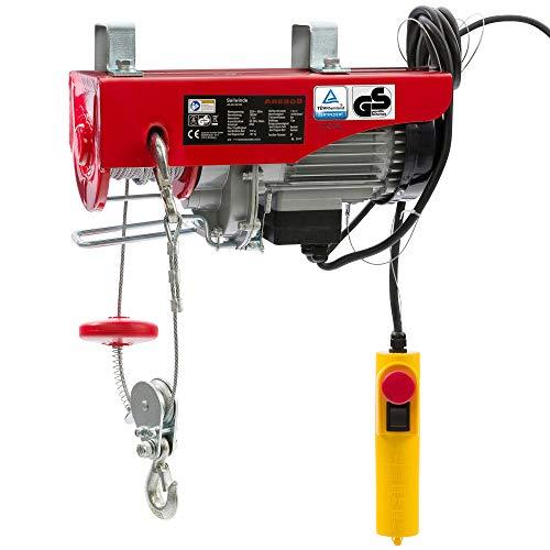 Arebos Treuil Palan électrique Treuil à câble électrique | 100/200 kg | 500W | Corde Robuste en Acier
