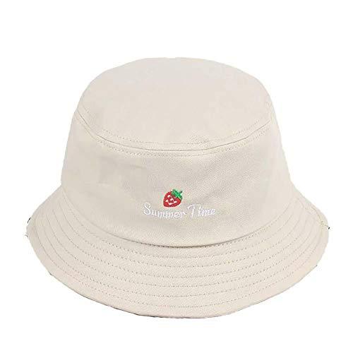 Drawihi Aufschrift Erdbeere bestickt Baumwolle Fischerhut Eimer Outdoor Cap Mode Unisex Sommer Sonnenhüte faltbar breit Gr. Einheitsgröße, beige