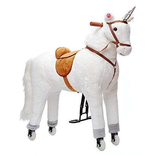 Pink Papaya XXL Reitpferd auf Rollen Einhorn Estrella, 90cm Spielpferd, fahrendes Schaukelpferd bis 100kg belastbar, Spielzeug Plüsch Pferd zum Drauf sitzen mit Sounds