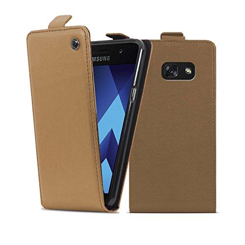 Lincivius Cover Samsung A3 2017 [Flip Shield], Custodia Samsung Galaxy A3 2017 Flip Wallet Marrone Chiaro Protettiva Designi Originale Accessori Elegante
