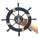 Fangoo 2 Pack 28 CM Steuerrad mit Holz und 33CM Anker Holz Steuerrad mit Seil Nautical Boat Wanddeko Maritime Deko Tür hängen Ornament - 2