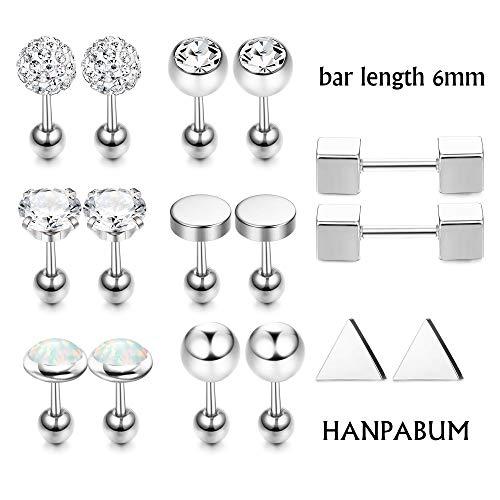 Hanpabum 9 Pairs Stainless Steel Ball Stud Earrings Barbell CZ Cartilage Helix Ear Piercing Jewelry Set for Men Women