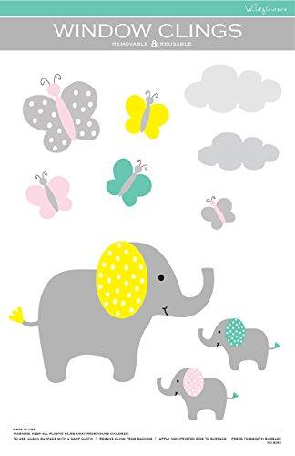 Elephants and Butterflies Nursery Window Cling (No.8268)