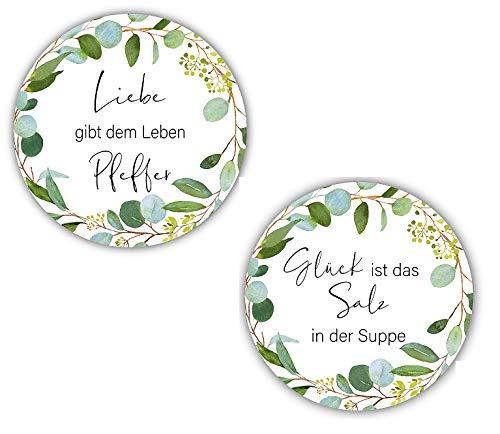 80 Sticker Aufkleber Salz & Pfeffer Liebe & Glück weiß Botanical Blätter-Ranke Blätter-Kranz grün Zubehör Gastgeschenke Hochzeit Selbstgemachtes Tisch-Deko Gewürze