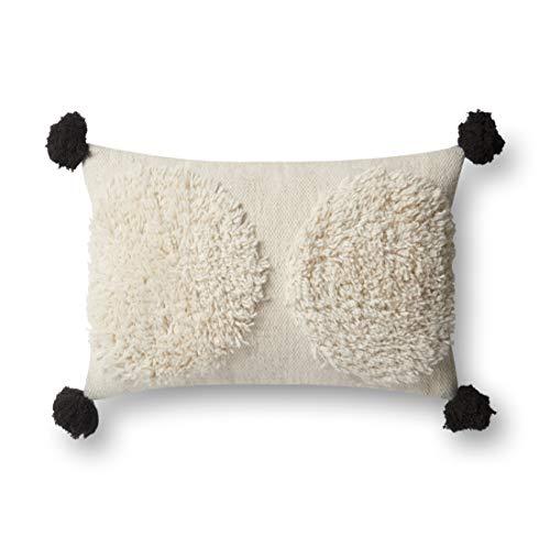Loloi Poly Set Ivory/Black Decorative Accent Pillow, 22' x 22'
