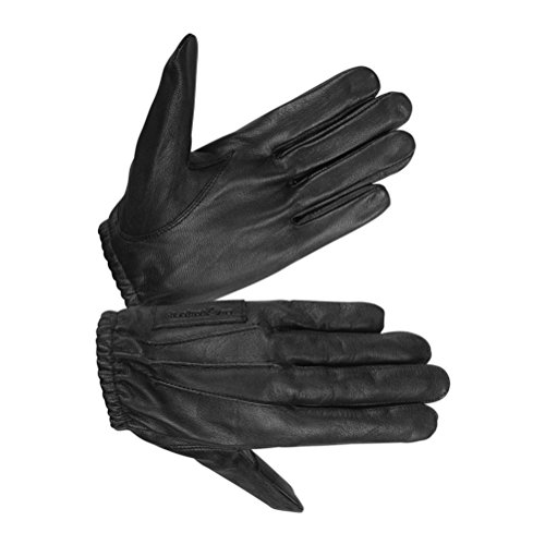 Hugger Men's Police Unlined Water Resistance Leather Driving or Pat Down Glove Medium Black