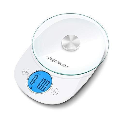 Aigostar Otis - Balance de cuisine multiples mesures avec écran LCD. Fonction tare. Plateau en verre, bouton tactile. Blanche. Design exclusif.