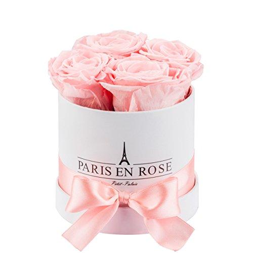PARIS EN ROSE Rosenbox Petit-Palais Classic | Weiße Rosenbox mit rosa Infinity Rosen | 3 Jahren haltbar |Flowerbox mit 4 konservierten Blumen
