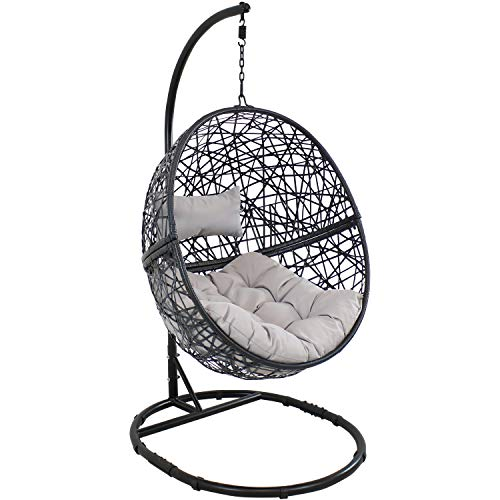 Sunnydaze Jackson Hanging Egg Chair Swing with Steel Stand Set - All-Weather Construction - Resin Wicker Porch Swing - Large Basket Design - Outdoor Lounging Chair - Includes Gray Cushions