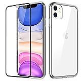 Vunake für iPhone 11 Hülle mit 9H Panzerglas Display Schutzfolie Rückseite Hart PC Cover mit Teil...