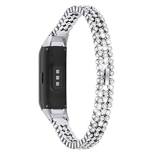 Chofit Ersatz-Armbänder kompatibel mit Samsung Galaxy Fit SM-R370 Armband, Metall Edelstahl Armband mit Strass Bling Bling Armband für Galaxy Fit SM-R370 Fitness Tracker, silber