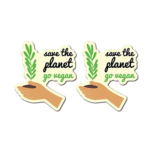 2X Save The Planet Go Vegan Sticker Decal