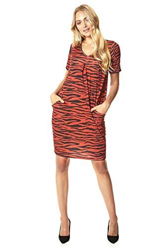 Roman Originals Damen Zebra-Print extra weit Shift-Kleid - Damen Tageskleidung Alltag lässig Tierprint V-Ausschnitt Kurzarm Knielang lose sitzend Relax-Kleid - Rust - Größe 38