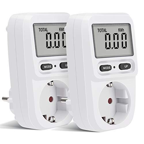 Energy Stromzähler für Steckdose,Stromkostenmessgerät Leistungsmessgerät Energiekosten-Messgerät mit LCD Bildschirm, Überlastsicherung, Maximale Leistung 3680W,2 Packs