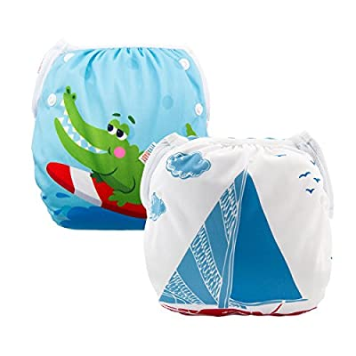 ALVABABY 2cs Swim Diapers Reuseable Adjustable One Size for Baby Gifts & Swimming Lessons (Blue & Alligator, 0-3 Years) ZDYK39-40