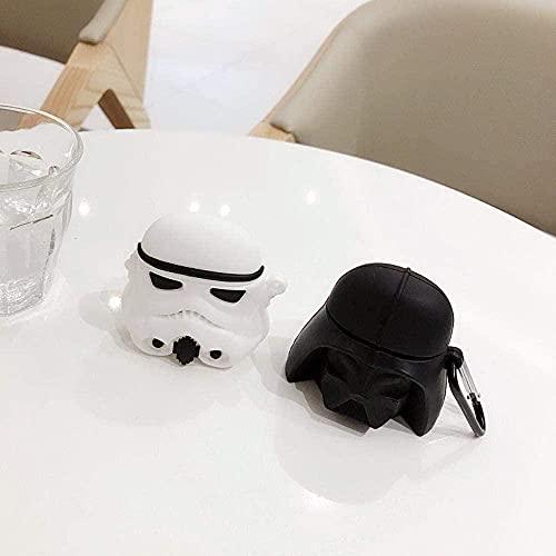 KANGNING para Airpods 2 Case 3D Star Wars Soft Silicone Wireless Bluetooth Fundas para Apple para AirPods Funda Funda Star Wars White Well