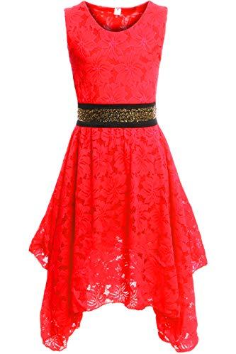 GILLSONZ PK500 vDa Mädchen fest Kommunions Hochzeit Kinder festlich Party Kleid Gr.122-176 (152/158, Rot)