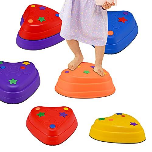 KOSIEJINN 6 Balance Stepping Stones - Juego de coordinación de Carrera de obstáculos para niños - Interior o Exterior - Piedras de río con Agarre de Goma en 3 tamaños Diferentes y Pendiente