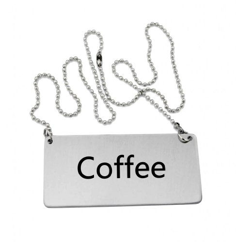 """New Star Foodservice 27426 Stainless Steel Chain Sign, (Coffee), 3.5""""x 1.5"""", Set of 2"""