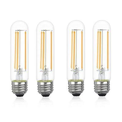 Dimmable T10 Filament LED Light Bulbs, Luxvista E26 6W Tube Vintage LED Bulbs 60 Watt Equivalent, Glass Tubular Light Warm White 2700K 4 Packs for Bedroom Bar Coffee Shop Restaurant