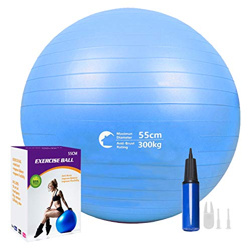 Lusuroi Exercise Ball for Yoga, Pilates, Fitness, Balance, Stability, Birthing, Office Ball Chair - Anti-Burst, Extra Thick, No Slip with Quick Pump, Multiple-Colors and Sizes