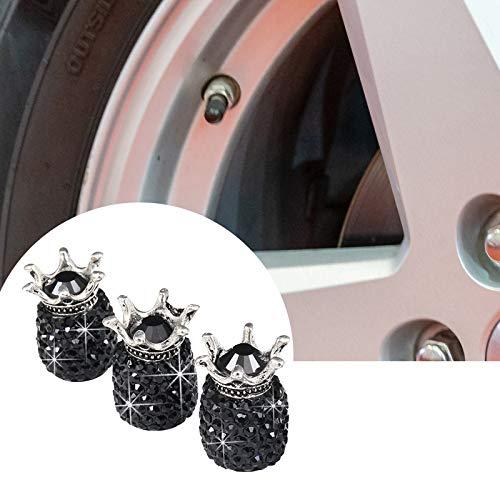 Porcyco 4 tapas para válvula de neumático con diamantes de imitación para válvulas de coche de 7,5 mm, color negro