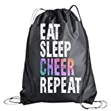Cheer Drawstring Bag for Girls, Cheerleading Competition Bag, Cheer Bags for Cheerleaders, Eat Sleep Charr Repeat, Sport Pack Cinch Sack