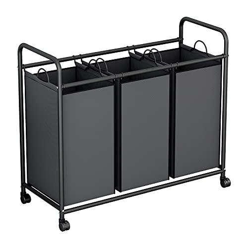 Clasificador de lavandería, 3 bolsas para la colada con ruedas resistentes, carrito organizador de lavandería, bolsa de...