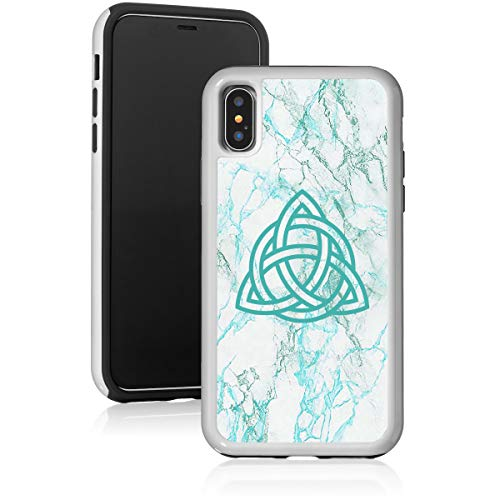 Marble Shockproof Impact Hard Soft Case Cover for Apple iPhone Triquetra Symbol Celtic Knot (Teal, for Apple iPhone 7 Plus/iPhone 8 Plus)