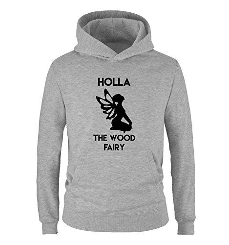 Comedy Shirts - Holla The Wood Fairy - Jungen Hoodie - Grau/Schwarz Gr. 134/146