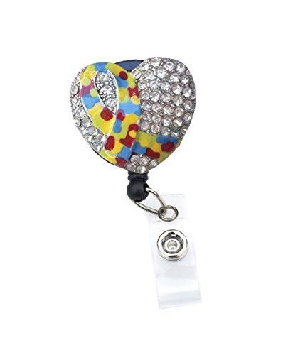 3D Awareness Ribbons Rhinestone Retractable ID Badge Holder/Bling ID Badge Reel (3D Autism Ribbon)