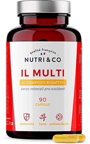 Multivitaminico Multiminerale   27 Composti Bioattivi   Zinco Magnesio Vitamine A B C D3 E K2   Minerali Alto Assorbimento   Integratore per Uomo e Donna   90 Capsule Prodotte in Francia da Nutri&Co