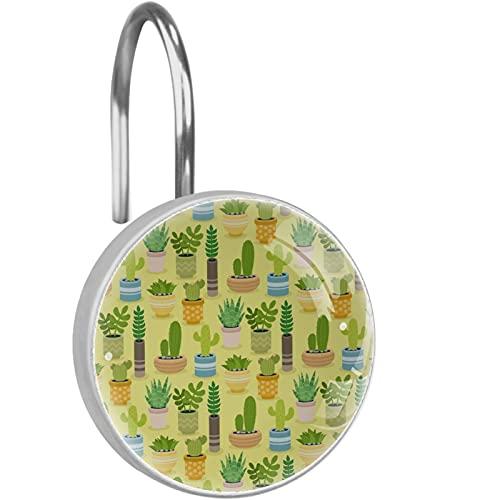 ATOMO Dekorative Duschvorhang-Haken, Kaktuspflanzen, grün-gelb, 12 Stück Duschvorhang-Haken, Ringe, rostwiderstandsfähig, Metall-Gleitmittel