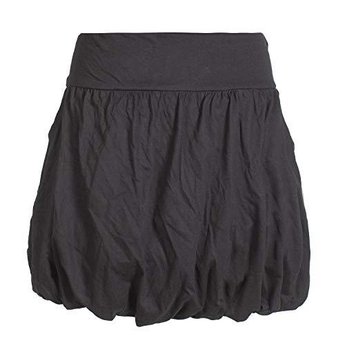 Vishes - Alternative Bekleidung - Einfarbiger Damen Basic Ballonrock Pluder-Rock Biobaumwolle Taschen schwarz 40