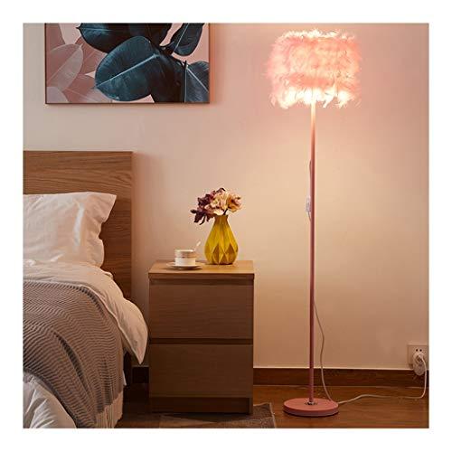 WYZ. Roze vloerlamp leuke veer lampshade woonkamer sofa slaapkamer meisjes-kind bedlampje LED traploze dimmen afstandsbediening