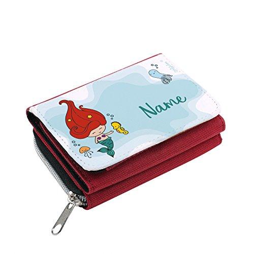 Striefchen® Meerjungfrau Geldbörse für Mädchen mit Namen mit Geschenkverpackung Rot