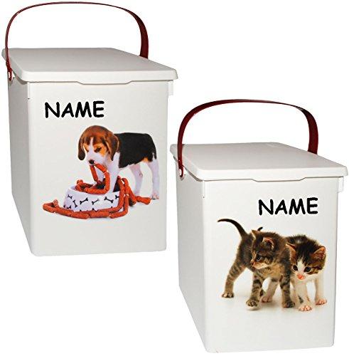 alles-meine.de GmbH 2 Stück _ Futterboxen / Futterdosen -  süße Haustiere  - incl. Name - für Tierfutter - Katzenfutter - Hundefutter - 5 Liter - Vorratsdosen / Aufbewahrungsbo..