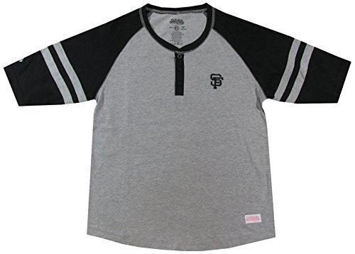 MLB San Francisco Giants Girl's Colorblocked Henley Top, Grey, Medium