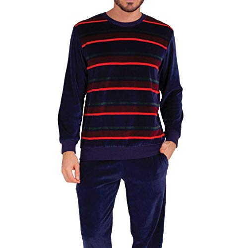 Eminence - Pyjama Long col Rond Homme Héritage - Taille : XL - Couleur : Rayures Multicolores-Marine