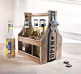 Dekoleidenschaft Flaschenträger aus Holz für 6 Bier Flaschen, mit Öffner im Shabby Look, Männerhandtasche, Bierflaschenträger