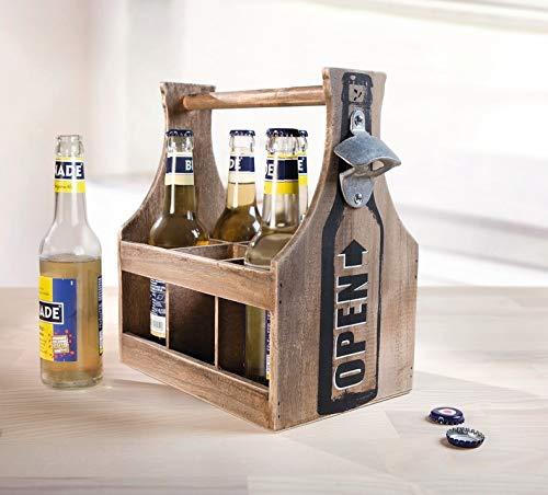 """Dekoleidenschaft Flaschenträger """"Opener"""" aus braunem Holz mit Flaschenöffner"""