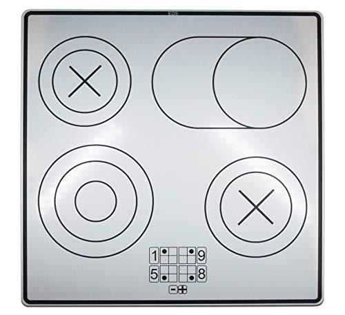 EDS - Kochfeld für Matschküche oder Spielküche | selbstklebend | Herdplatte, Herd Aufkleber | Kochplatte mit 4 Kochstellen | Kinderküche | 30cm x 30cm