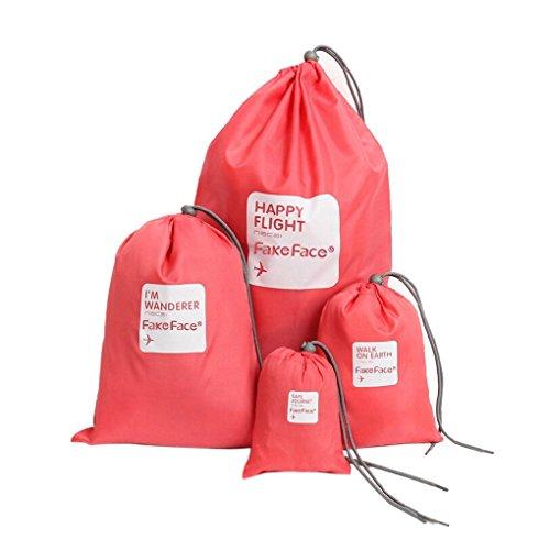 BXT] essenziale bags-in-bag, vestiti da viaggio impermeabile Nylon coulisse borsa da viaggio scarpe sacchetto stuff Bag organizzatori Set di 4dimensioni, Rose (rosso) - BXT-TRABAG-219