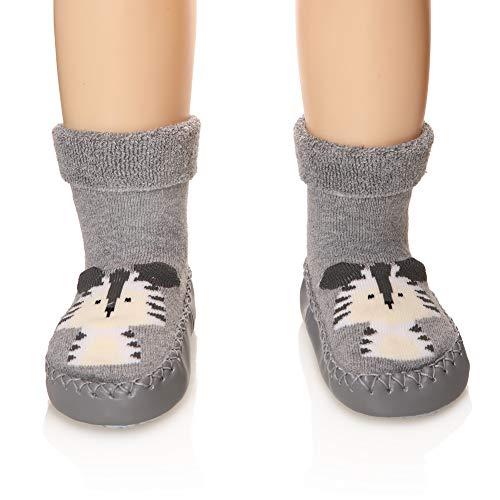 Eocom Baby Boy Girls Toddlers Moccasins Non-Skid Indoor Slipper Shoes Socks (Gray, 18-24 Months)