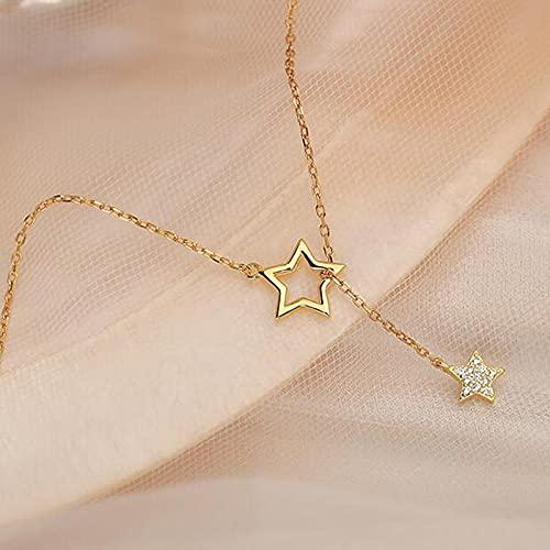 WQZYY&ASDCD Collar De Mujer Collar con Dije De Plata De Ley 925 para Mujer, Bonito Collar Brillante, Cielo Estrellado, Encantador, Joyería con Borla De Boda, Oro