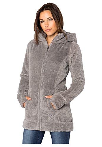 Sublevel Damen Kuschel Fleece-Mantel aus Teddy-Fleece Middle-grey1 M