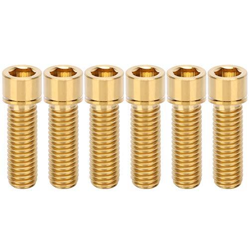 Gedourain Tornillo del vástago del Auricular, M8x25mm Fácil de Instalar Materiales de aleación Ligera Tornillo de Manillar de aleación de Titanio para Amantes del Ciclismo(Golden)
