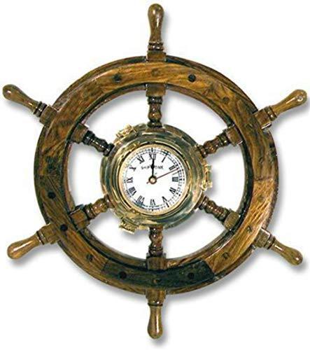CAPRILO Reloj de Pared Decorativo de Madera y Latón Timón Marinero.Adornos. Decoración Marina. Menaje. Regalos Originales. 42 x 42 x 5 cm.