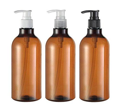 3Pcs 500ml/481,9gram Plastique Marron Flacon Pompe rond avec Blanc/noir/clair Pompe du Cosmétique de bain douche Shampooing Hair-conditioner liquide de stockage de conteneurs