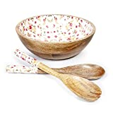 Wooden 25cm Large Salad Bowl With two Salad Servers For Serve salads, Fruit bowl or Sides and more
